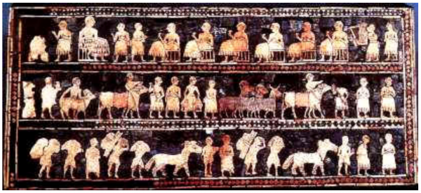 Priests and scribes in the top level await the peasants and farmers who bring their produce in gratitude. British Museum, Sumerian inlaid panel dated 2000 BC. Read more at: http://www.cais-soas.com/CAIS/Religions/non-iranian/Judaism/Persian_Judaism/Persia_created_judaism.htm