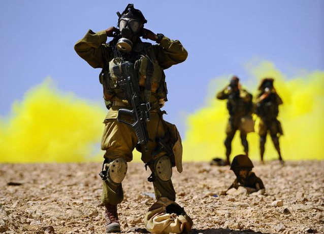 IDF soldiers during gas-drill (illustration) - Photo courtesy I.D.F.