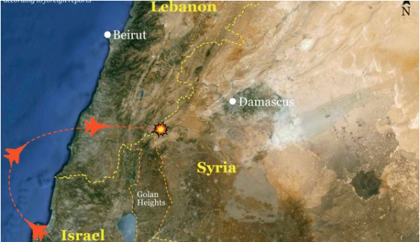 Map of Israel-Syria-Lebanon borders