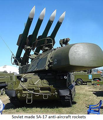 Soviet made SA-17 anti-aircraft rockets