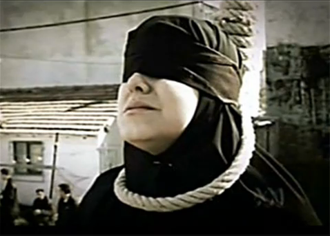 A woman before hanging in Iran
