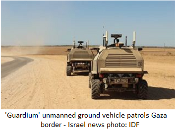 'Guardium' unmanned ground vehicle patrols Gaza border