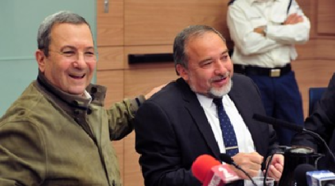 Outgoing MK Defense Minister Ehud Barak and MK Avigdor Liberman, March 11, 2013 Photo- Courtesy Ministry of Defense