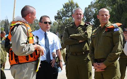 Erdan (second from left) beside IDF chief Gantz – Photo IDF Spokesperson's Office