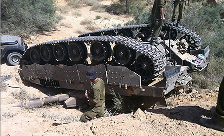 Merkava Mark III tank flips over - Photo courtesy IDF