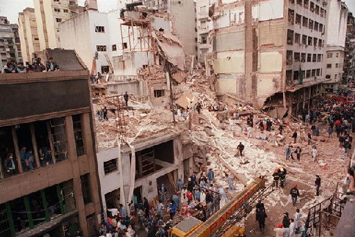 Remains of the AMIA after the 1994 bombing in Buenos Aires, Argentina - Photo:  Wikipedia commons