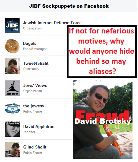 David Brotsky's (JIDF) FB Sockpuppets