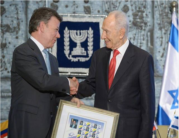 President Shimon Peres and Colombian President Juan Manuel Santos - Photo: Mark Neiamn/GPO