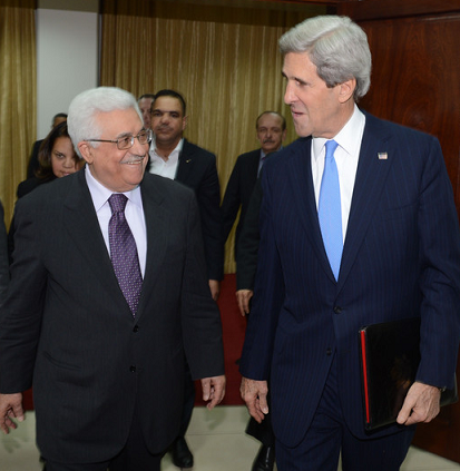 U.S. Secretary of State John Kerry meets PA President Mahmoud Abbas - Photo courtesy of the Palestinian Press Office