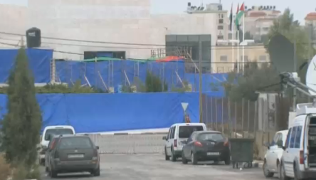 Yasser Arafat's mausoleum, where tarpaulin obscured the entrance during his exhumation. - Photo Screenshot