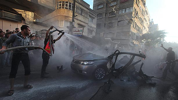Precise hit on Ahmed Jabari . The Israel's air strike destroyed the Hamas commander's car.