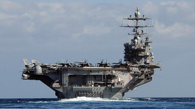 The nuclear-powered aircraft carrier Ronald Reagan