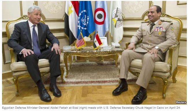 Defense Chuck Hagel and  Egyptian Gen. Abdel Fattah al-Sisi.