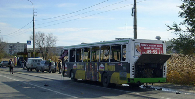 A handout photo provided on October 21, 2013 by the Russian Emergencies Ministry shows a bus damaged by explosion in the city of Volgograd (RIA Novosti-Press-service of Russian Emergen)