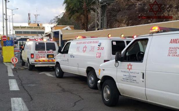 Israeli MDA ambulances awaiting Egyptian permission to enter Taba to render assistance in Sinai terrorist attack - Photo courtesy Magen David Adom