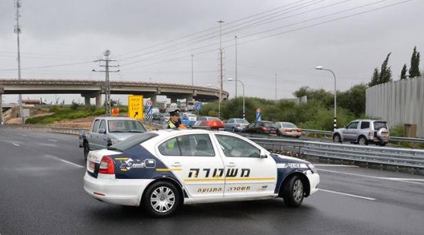 Road blocked - Photo courtesy Israel Police Spokesperson Office