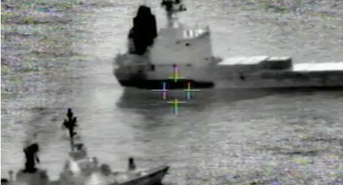 The Klos C being stoped at sea by Israeli Shayetet 13 commandos - IAF unmanned aerial vehicle (UAV) Photo  Courtesy IDF Spokesperson's Unit