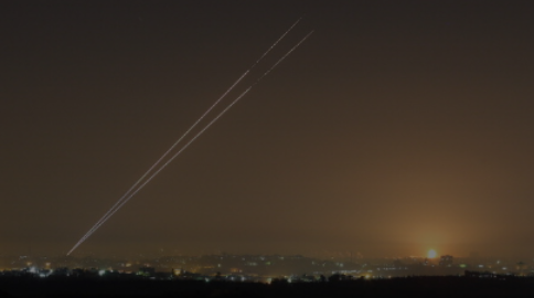 2 Rockets being fired at Israel from Gaza - Screenshot