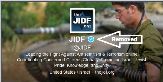 JIDF's Verified Status removed.