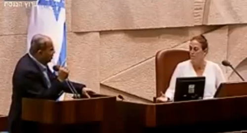 MK Tibi in tirade after MK Calderon (Yesh Atid) tells him his time is up. - A7 Screenshot