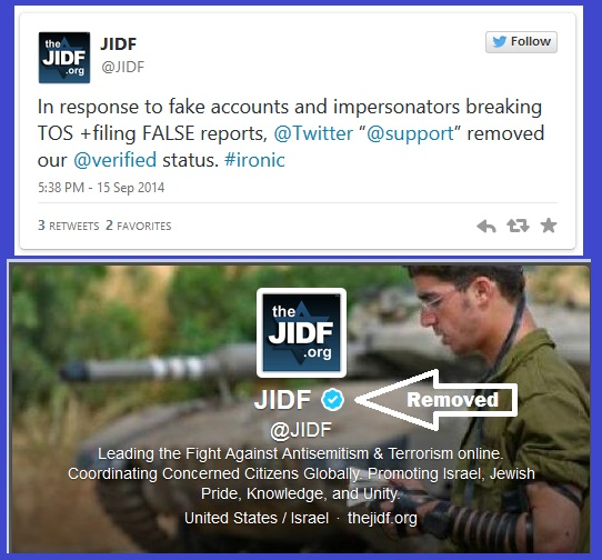 JIDF's Verified Status removed Tweet