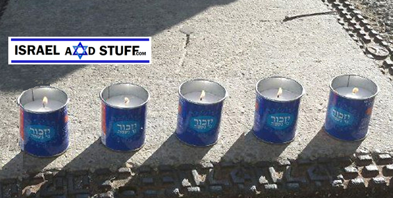 Memory candles to honor the 5 victims of terror. with logo