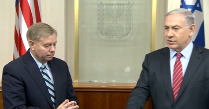 US Senator Lindsey Graham (R-South Carolina) & Prime Minister Benjamin Netanyahu in Jerusalem. - GPO Screenshot
