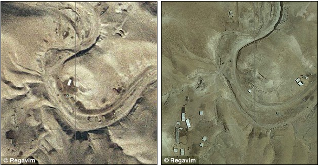 Ariel photographs from 1999 (L) & 2013 (R) show the development of an illegal Palestinian settlement at Mitzpe Jericho, in the Israeli area under Oslo accords, int'l law & local Israeli law clearly prove EU's illegal meddling contrary to International decisions, agreements and law.