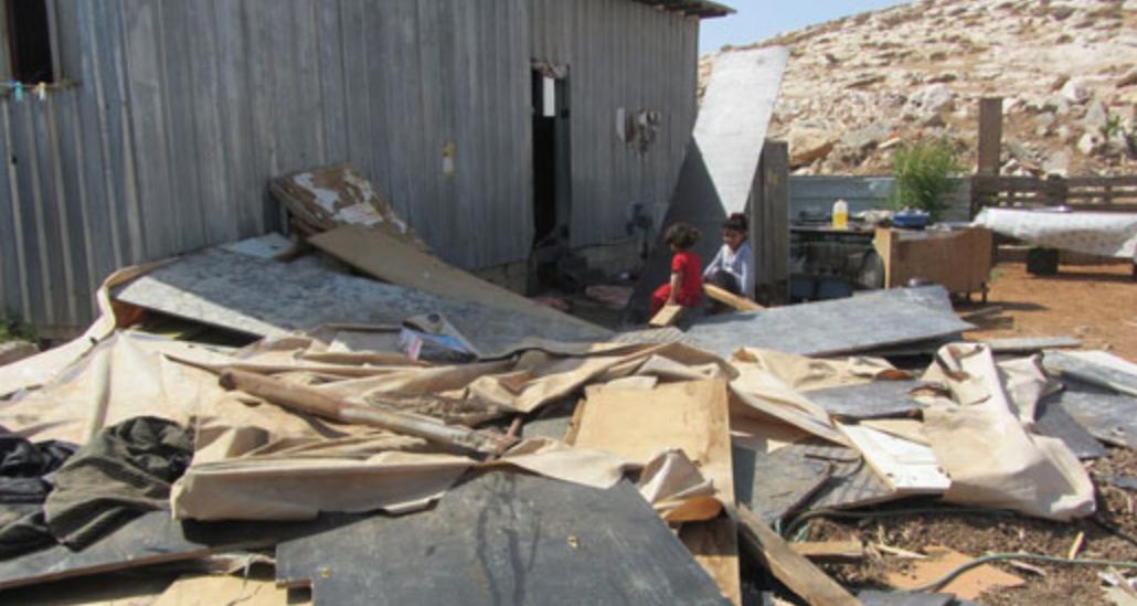 Demolitions in a-Sa'idi community today. - Photo: 'Amer 'Aruri, B'Tselem