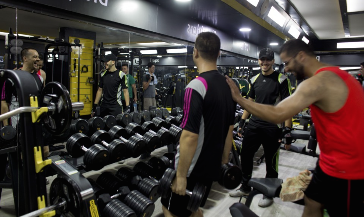 The Techno Gym in Gaza City has separate hours for men & women and offers swimming lessons in an indoor pool, a sauna, a massage room & gym classes. - Photo: Heidi Levine/WP