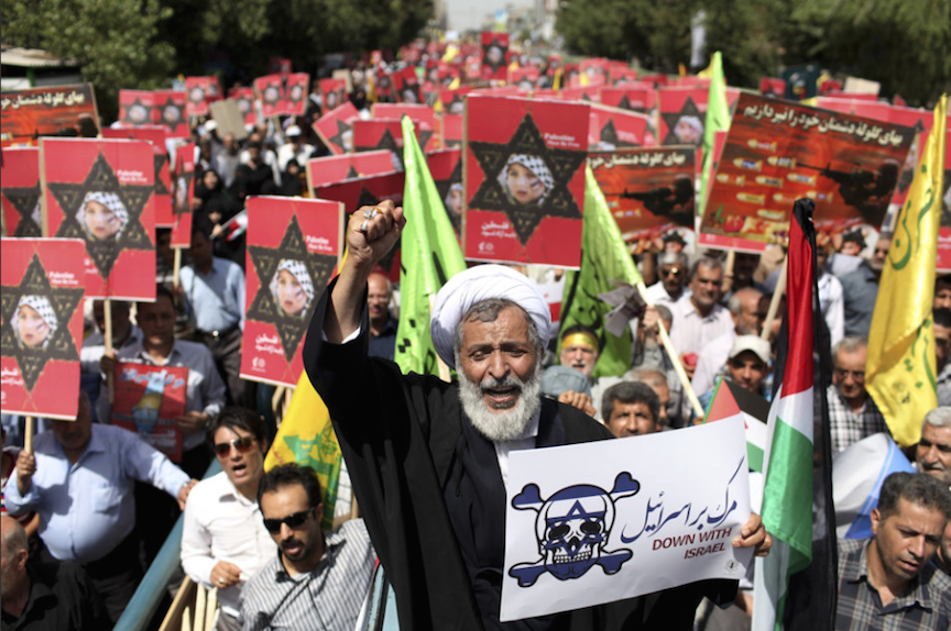 """Death to Israel"" - Iranian president at anti-Israel march."