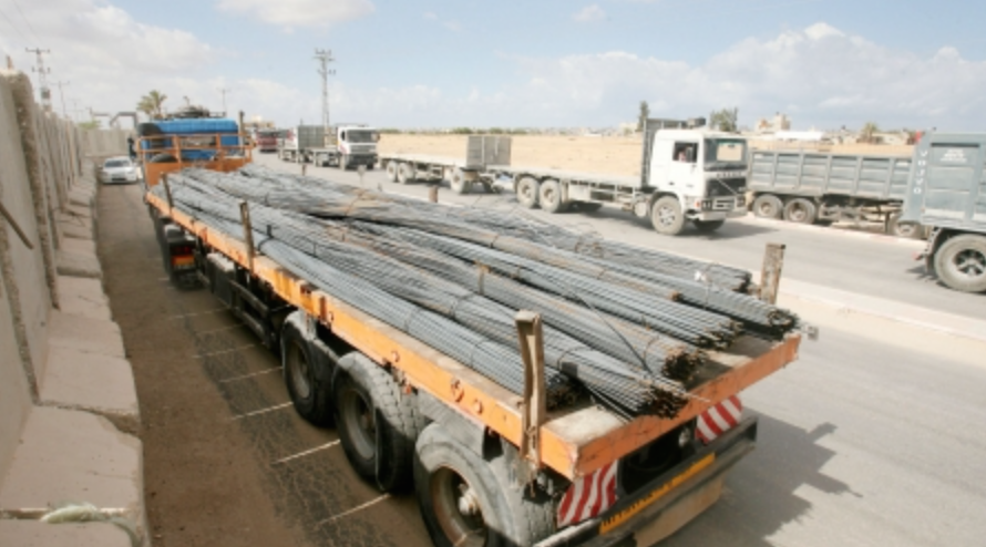 Construction iron sent to Gaza
