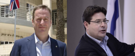 British Ambassador to Israel David Quarrey (left) & Israel's Science, Technology and Space Minister, Ophir Akunis (right)