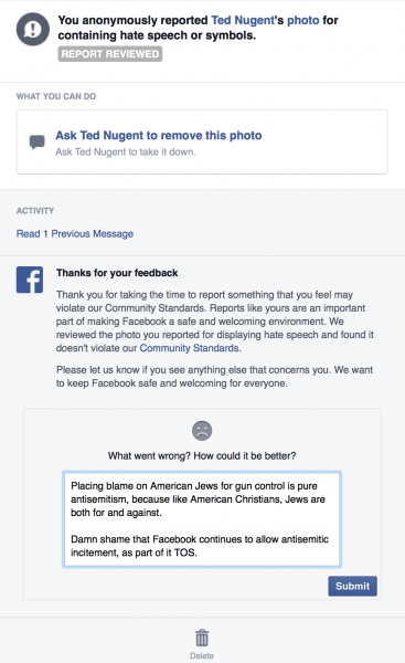 Facebook's responce to report