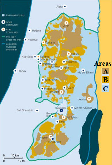 Areas A, B, C map of West Bank
