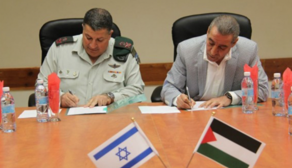 PA Minister of Civil Affairs Hussein al-Sheikh & Israel's Coordinator of Government Activities in the Territories Maj. Gen. Yoav Mordecai - IDF