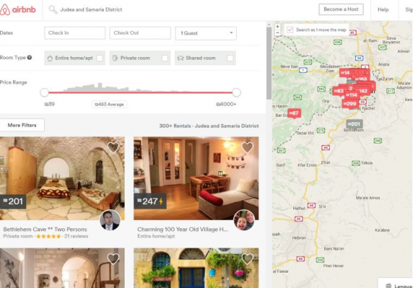 Airbnb listings of homes in the West Bank. - Photo: Courtesy