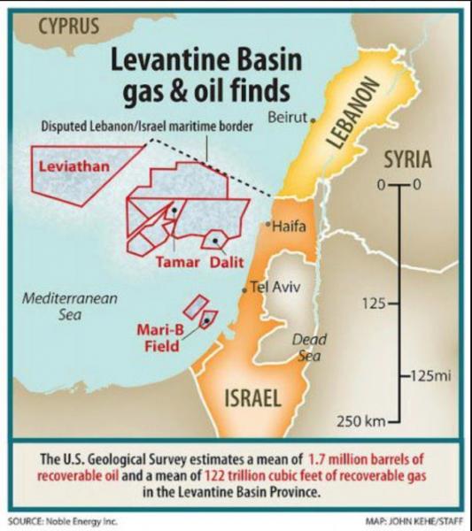 Israel's exclusive economic zone map