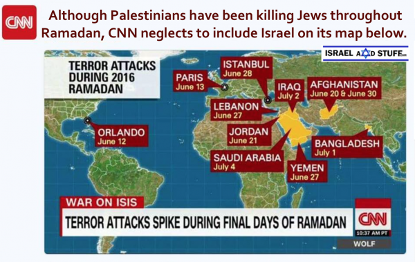 CNN graphic excludes Israel on map of terror attacks during Ramadan in 2016