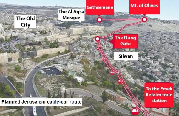 Jerusalem cable car route