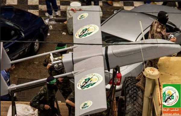 Hamas drone at a military ralley in Gaza - Photo: al-Qassam Brigades Arabic website