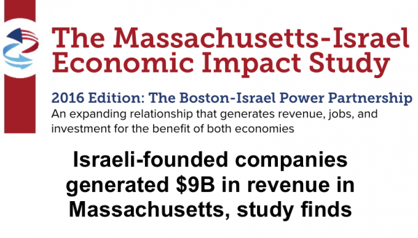 In 2015, more than 200 Israeli-founded businesses were based around Boston, employing 9,000 people that generated $9.3 billion in revenue & represented 4% of Massachusetts's gross domestic product. READ MORE