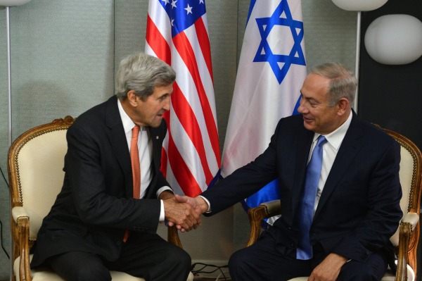 Prime Minister Benjamin Netanyahu meets with US Secretary of State John Kerry. - Photo courtesy: Kobi Gideon, Israel's GPO