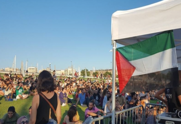 Photo from Womens Boat to Gaza website proves they are more anti-Israel than pro-Palestinian, by not knowing the flag is hoisted up-side-down.