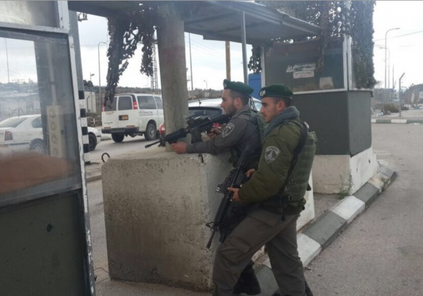 Border Guard Police officers stationed at the Tapuah junction. - Photo courtesy: Israel Police