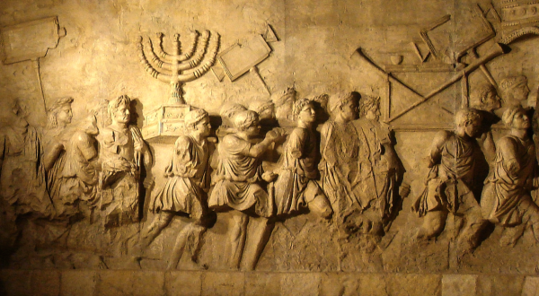 Close up of relief on the Arch of Titus in Rome showing spoils brought to Rome after their Siege of Jerusalem