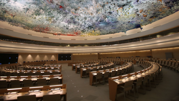 Human Rights and Alliance of Civilizations Room of the Palace of Nations, Geneva (Switzerland) is the meeting room of the United Nations Human Rights Council. - Photo courtesy: Wikipedia Commons