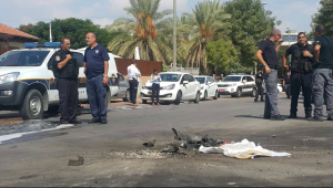 Police bomb disposal experts in the city of Sderot where gaza rocket exploded - Photo: Israel Police - משטרת ישראל Facebook
