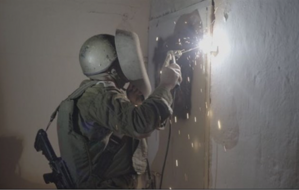Terrorist Storage locker being wielded closed in Sh'chem - Photo: IDF Spokesperson's unit