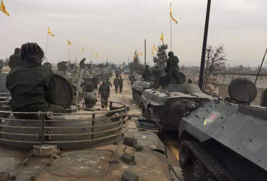 Hezbollah tanks and APCs on display
